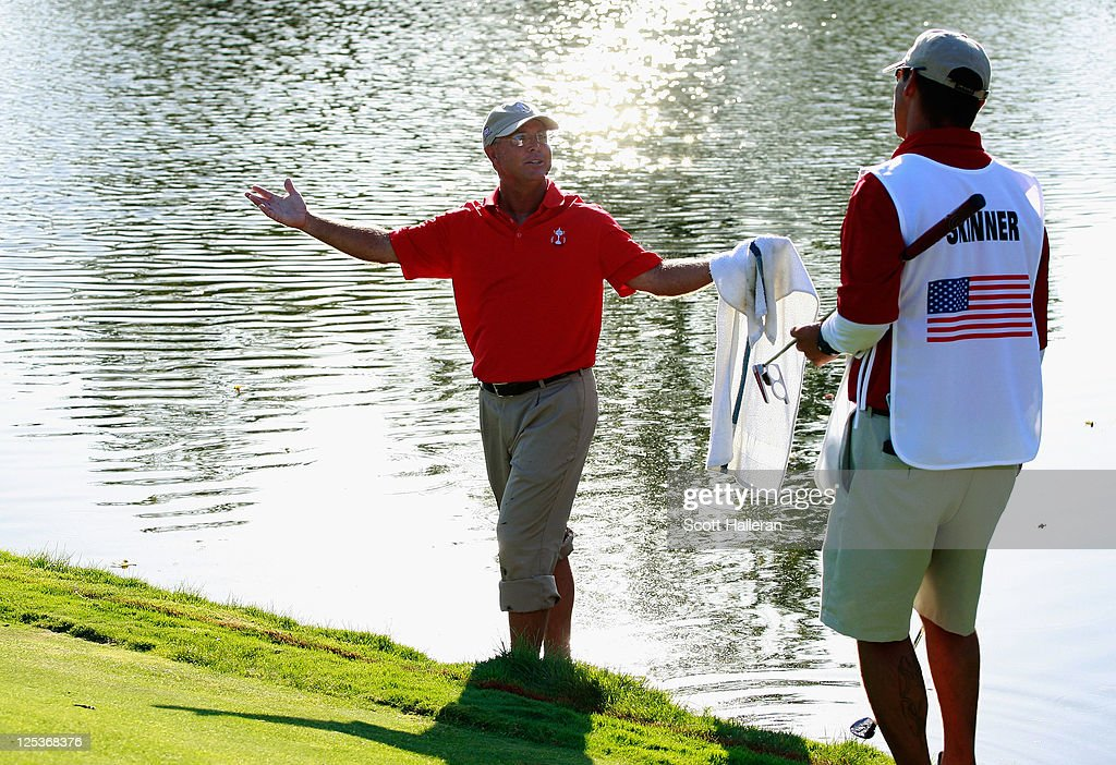 Sonny Skinner of the USA team reacts to a shot from the water during the Afternoon Foursomes Matches at the 25th PGA Cup at the CordeValle Golf Club on September 16, 2011 in San Martin, California.