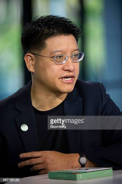 Sonny Vu chief executive officer of Misfit Wearables Corp speaks during a Bloomberg West television interview in San Francisco California US on...