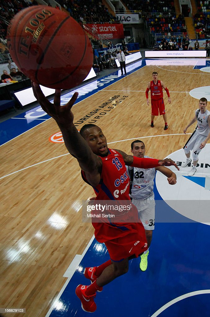 <a gi-track='captionPersonalityLinkClicked' href=/galleries/search?phrase=Sonny+Weems&family=editorial&specificpeople=4099569 ng-click='$event.stopPropagation()'>Sonny Weems</a>, #13 of CSKA Moscow in action during the 2012-2013 Turkish Airlines Euroleague Regular Season Game Day 7 between CSKA Moscow v Partizan mt:s Belgrade at Megasport Sports Palace on November 22, 2012 in Moscow, Russia.