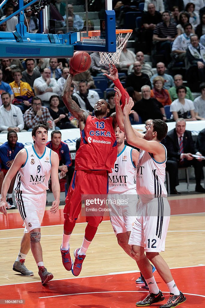 <a gi-track='captionPersonalityLinkClicked' href=/galleries/search?phrase=Sonny+Weems&family=editorial&specificpeople=4099569 ng-click='$event.stopPropagation()'>Sonny Weems</a>, #13 of CSKA Moscow in action during the 2012-2013 Turkish Airlines Euroleague Top 16 Date 6 between Real Madrid v CSKA Moscow at Palacio Deportes Comunidad de Madrid on January 31, 2013 in Madrid, Spain.
