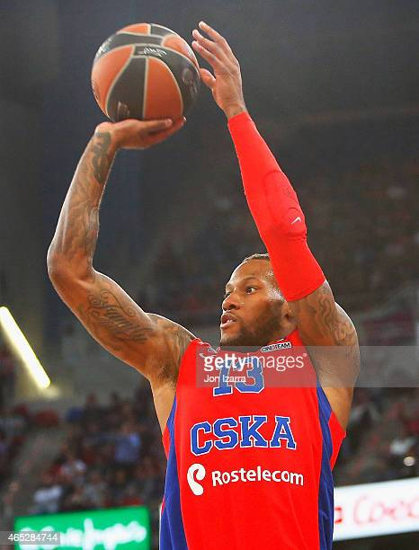 Sonny Weems #13 of CSKA Moscow shooting during the Turkish Airlines Euroleague Basketball Top 16 Date 9 game between Laboral Kutxa Vitoria v CSKA...