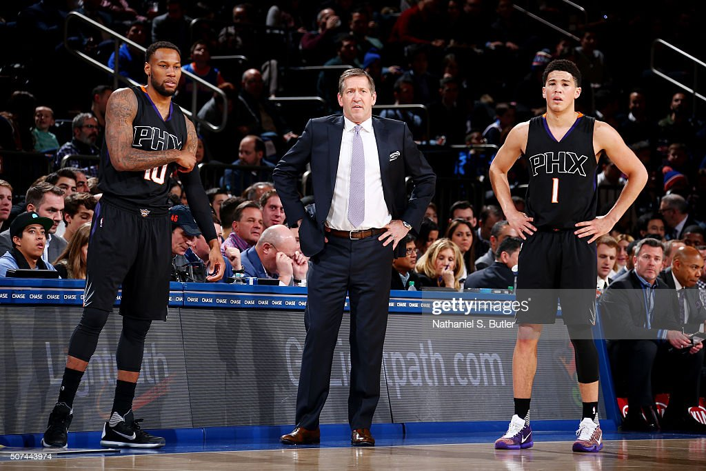 Sonny Weems head coach Jeff Hornacek and Devin Booker of the Phoenix Suns talk during the game against the New York Knicks on January 29 2016 at...