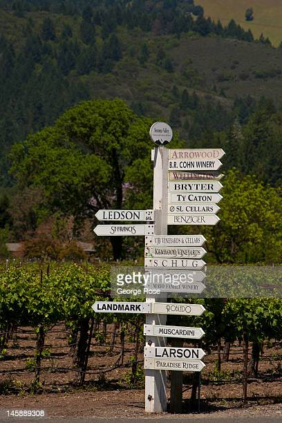 Sonoma Valley winery directional sign stands in a vineyard on May 9 in Kenwood California Perfect weather is leading many growers to believe...