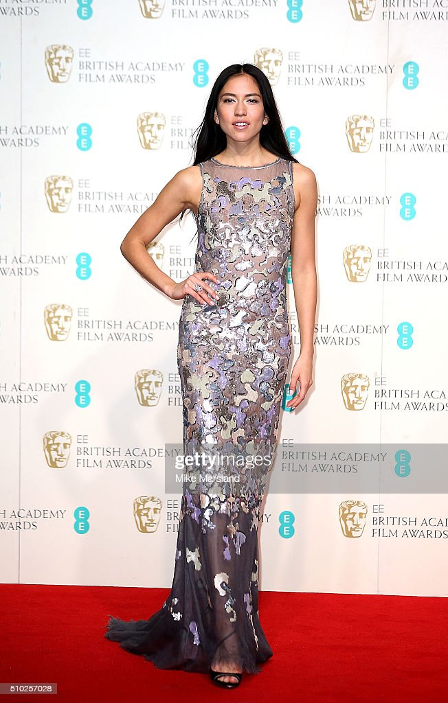 Sonoya Mizuno poses in the winners room at the EE British Academy Film Awards at The Royal Opera House on February 14, 2016 in London, England.