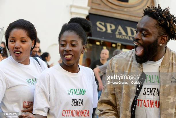 Sons and daughters of immigrants together with students teachers and parents in Piazza Montecitorio for Citizenship Day to ask for the approval of...