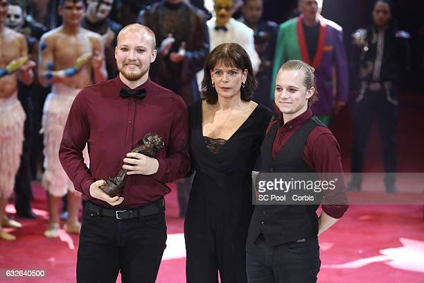 Sons Company receive the Bronze Clown from Princess Stephanie of Monaco during the awards ceremony of the 41st MonteCarlo International Circus...