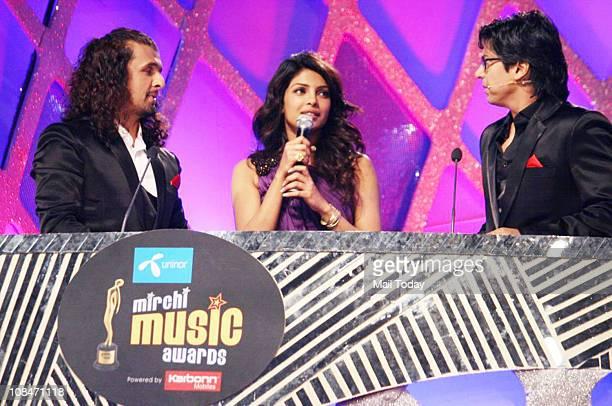 Sonu Nigam Priyanka Chopra and Shaan at Radio Mirchi Music Awards at BKC in Mumbai on January 27 2011