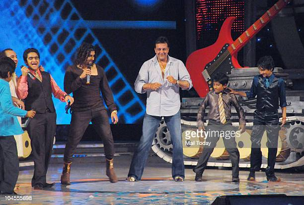 Sonu Nigam Sanjay Dutt and Raahat Fateh Ali Khan on the sets of the reality show 'Chhote Ustaad' in Mumbai on September 27 2010