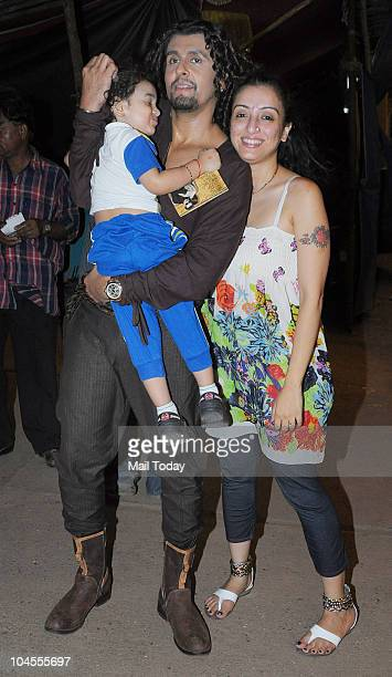 Sonu Nigam with her wife Madhurima and son on the sets of the reality show 'Chhote Ustaad' in Mumbai on September 27 2010
