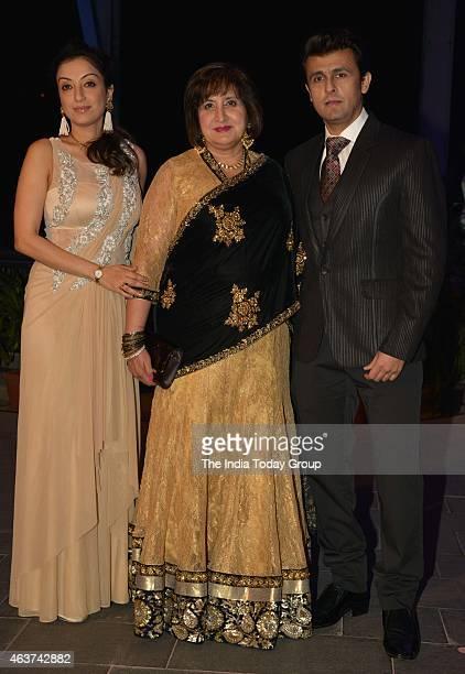 Sonu Nigam with his family at Rahul Thackeray and DrAditi's wedding reception in Mumbai