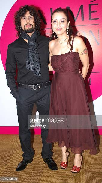 Sonu Nigam with wife Madhushree at day 4 of the Lakme Fashion Week in Mumbai March 8 2010
