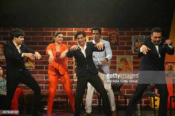 Sonu SoodDeepika Padukone Boman Irani Shah Rukh Khan Farah Khan Vivaan Shah at the promotions of their upcoming movie of 'Happy New Year at India...