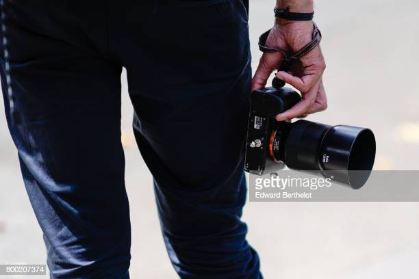 Sony Alpha 7r ii and a Zeiss Batis 85mm F18 are seen outside the 22/4 Hommes show during Paris Fashion Week Menswear Spring/Summer 2018 on June 23...