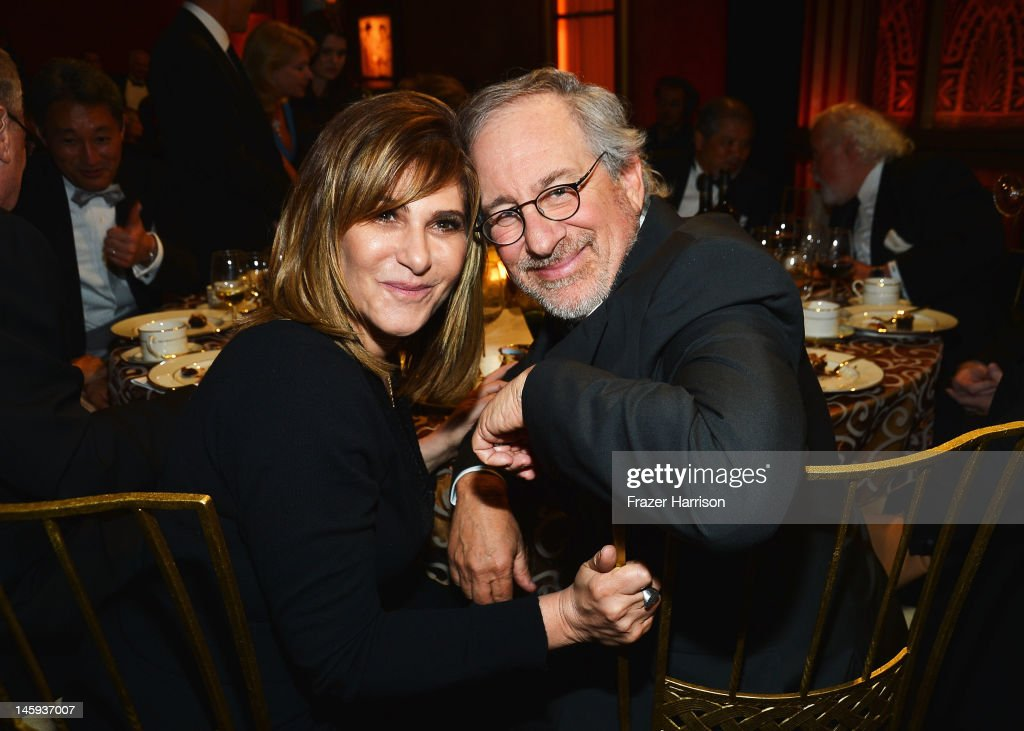 Sony co-chairman <a gi-track='captionPersonalityLinkClicked' href=/galleries/search?phrase=Amy+Pascal&family=editorial&specificpeople=207083 ng-click='$event.stopPropagation()'>Amy Pascal</a> and director <a gi-track='captionPersonalityLinkClicked' href=/galleries/search?phrase=Steven+Spielberg&family=editorial&specificpeople=202022 ng-click='$event.stopPropagation()'>Steven Spielberg</a> attends the 40th AFI Life Achievement Award honoring Shirley MacLaine held at Sony Pictures Studios on June 7, 2012 in Culver City, California. The AFI Life Achievement Award tribute to Shirley MacLaine will premiere on TV Land on Saturday, June 24 at 9PM ET/PST.