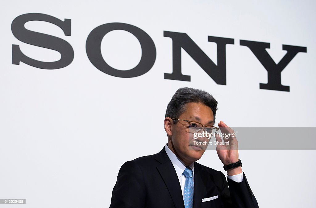 Sony Corp. CEO <a gi-track='captionPersonalityLinkClicked' href=/galleries/search?phrase=Kazuo+Hirai&family=editorial&specificpeople=2377874 ng-click='$event.stopPropagation()'>Kazuo Hirai</a> adjusts his glasses during a press conference on June 29, 2016 in Tokyo, Japan. Sony announced its mid-range business strategy plan from FY2015 through 2017 today.