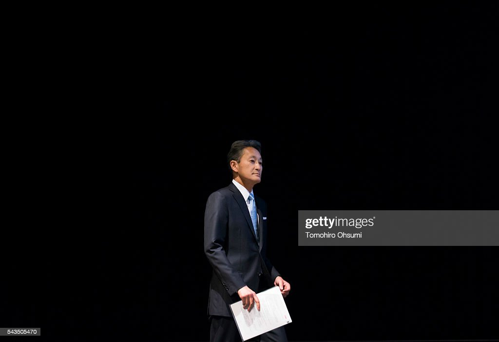 Sony Corp. CEO <a gi-track='captionPersonalityLinkClicked' href=/galleries/search?phrase=Kazuo+Hirai&family=editorial&specificpeople=2377874 ng-click='$event.stopPropagation()'>Kazuo Hirai</a> arrives for a press conference on June 29, 2016 in Tokyo, Japan. Sony announced its mid-range business strategy plan from FY2015 through 2017 today.