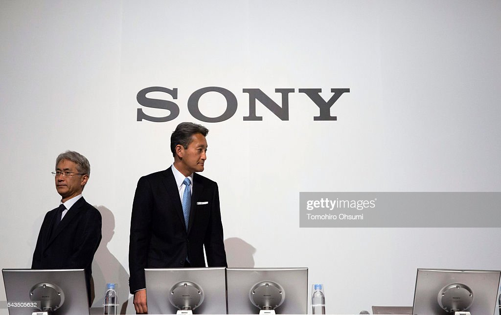 Sony Corp. CEO Kazuo Hirai, right, and CFO Kenichiro Yoshida attend a press conference on June 29, 2016 in Tokyo, Japan. Sony announced its mid-range business strategy plan from FY2015 through 2017 today.