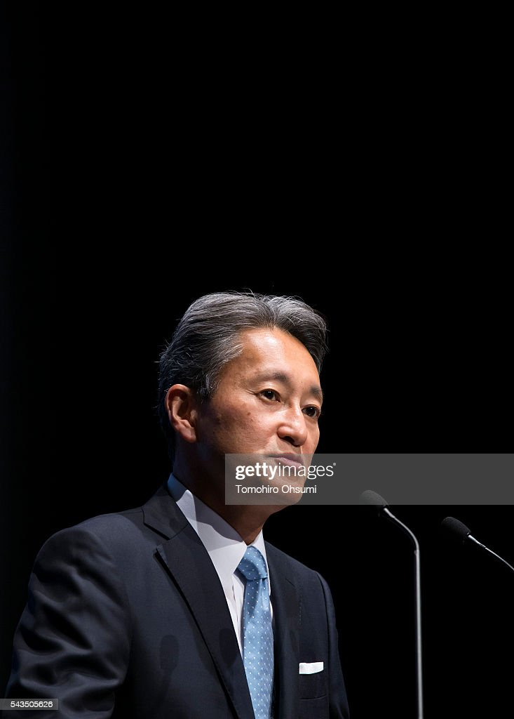Sony Corp. CEO Kazuo Hirai speaks during a press conference on June 29, 2016 in Tokyo, Japan. Sony announced its mid-range business strategy plan from FY2015 through 2017 today.