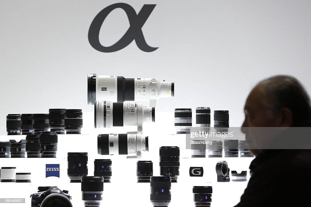 Sony Corp. lenses sit on display at the CP+ Camera and Photo Imaging Show in Yokohama City, Japan, on Thursday, Jan. 31, 2013. The CP+ Camera and Photo Imaging Show runs from Jan. 31 to Feb. 3. Photographer: Kiyoshi Ota/Bloomberg via Getty Images
