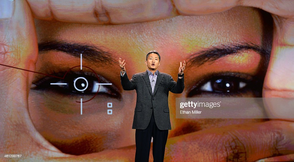 Sony Corp. President and CEO <a gi-track='captionPersonalityLinkClicked' href=/galleries/search?phrase=Kazuo+Hirai&family=editorial&specificpeople=2377874 ng-click='$event.stopPropagation()'>Kazuo Hirai</a> delivers a keynote address at the 2014 International CES at The Venetian Las Vegas on January 7, 2014 in Las Vegas, Nevada. CES, the world's largest annual consumer technology trade show, runs through January 10 and is expected to feature 3,200 exhibitors showing off their latest products and services to about 150,000 attendees.