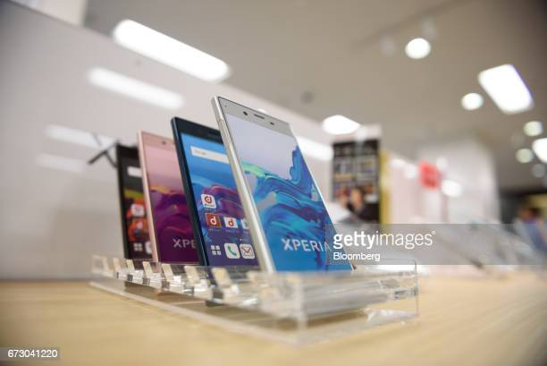 Sony Corp Xperia XZ smartphones sit on display at an NTT Docomo Inc store in Tokyo Japan on Monday April 24 2017 NTT Docomo one of the world's...
