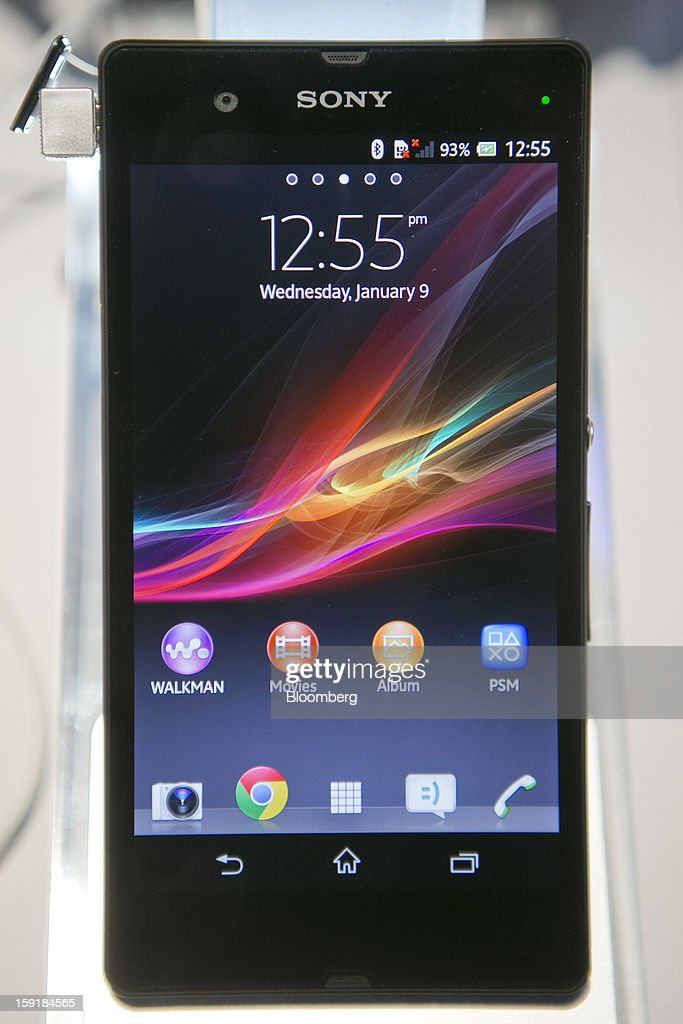 A Sony Corp. Xperia Z smartphone sits on display during the 2013 Consumer Electronics Show in Las Vegas, Nevada, U.S., on Wednesday, Jan. 9, 2013. Sony Corp. is enabling its Bravia TVs, Handycam camcorders and Xperia phones to communicate with each other as Chief Executive Officer Kazuo Hirai tries to end four years of losses. Photographer: Andrew Harrer/Bloomberg via Getty Images