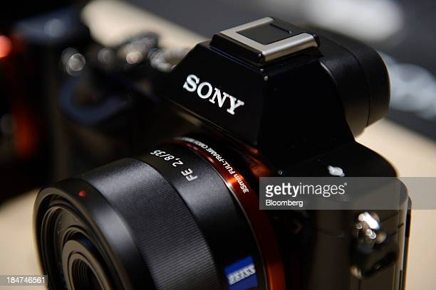 Sony Corp's A7 mirrorless digital camera is displayed at an unveiling in Tokyo Japan on Wednesday Oct 16 2013 Sony which is expected to post a 23...