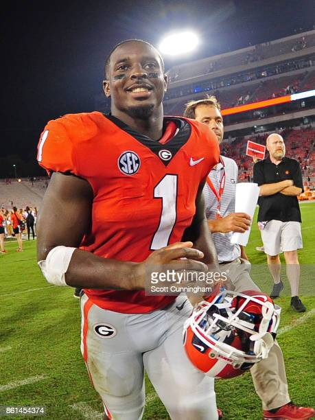 Sony Michel of the Georgia Bulldogs heads off the field after the game against the Missouri Tigers at Sanford Stadium on October 14 2017 in Athens...