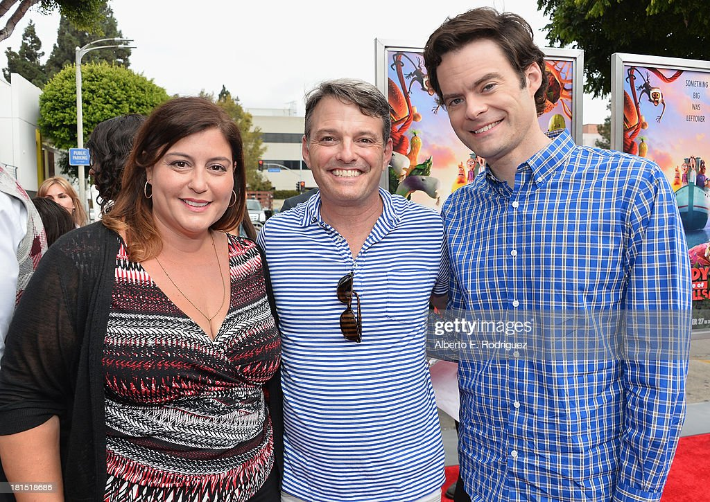 Sony Pictures Animations' Michelle Raimo Kouyate, president of digital production at Sony Pictures Animations' Bob Osher and actor Bill Hader arrive to the premiere of Columbia Pictures and Sony Pictures Animation's 'Cloudy With A Chance of Meatballs 2' at the Regency Village Theatre on September 21, 2013 in Westwood, California.