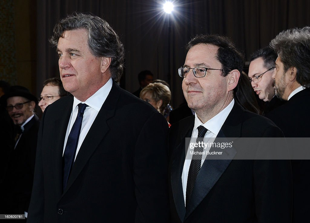 Sony Pictures Classics Co-Chairmans Tom Bernard (L) and Michael Barker (R) arrive at the Oscars at Hollywood & Highland Center on February 24, 2013 in Hollywood, California.