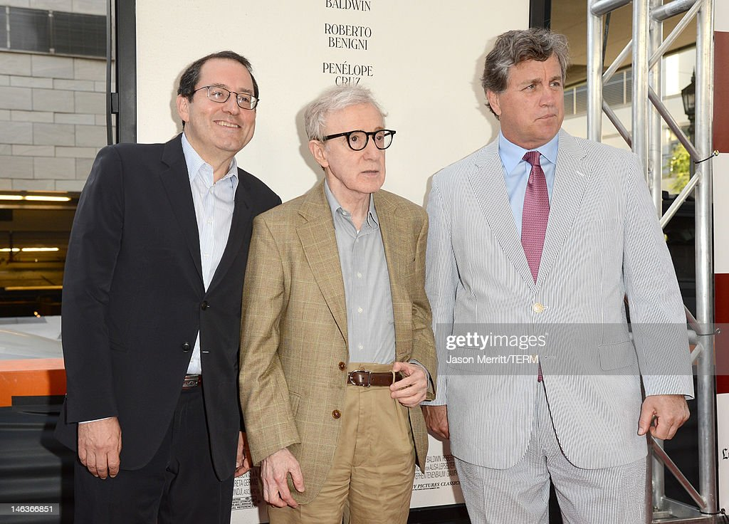 Sony Pictures Classics co-president <a gi-track='captionPersonalityLinkClicked' href=/galleries/search?phrase=Michael+Barker+-+CEO&family=editorial&specificpeople=236048 ng-click='$event.stopPropagation()'>Michael Barker</a>, director/producer <a gi-track='captionPersonalityLinkClicked' href=/galleries/search?phrase=Woody+Allen&family=editorial&specificpeople=202886 ng-click='$event.stopPropagation()'>Woody Allen</a>, and Sony Pictures Classics co-president <a gi-track='captionPersonalityLinkClicked' href=/galleries/search?phrase=Tom+Bernard&family=editorial&specificpeople=204620 ng-click='$event.stopPropagation()'>Tom Bernard</a> arrives at Film Independent's 2012 Los Angeles Film Festival Premiere of Sony Pictures Classics' 'To Rome With Love' at Regal Cinemas L.A. LIVE Stadium 14 on June 14, 2012 in Los Angeles, California.