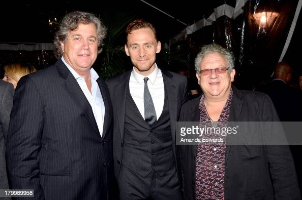 Sony Pictures Classics' CoPresident Tom Bernard actor Tom Hiddleston and producer Jeremy Thomas attend the Sony Pictures Classics' cast dinner during...