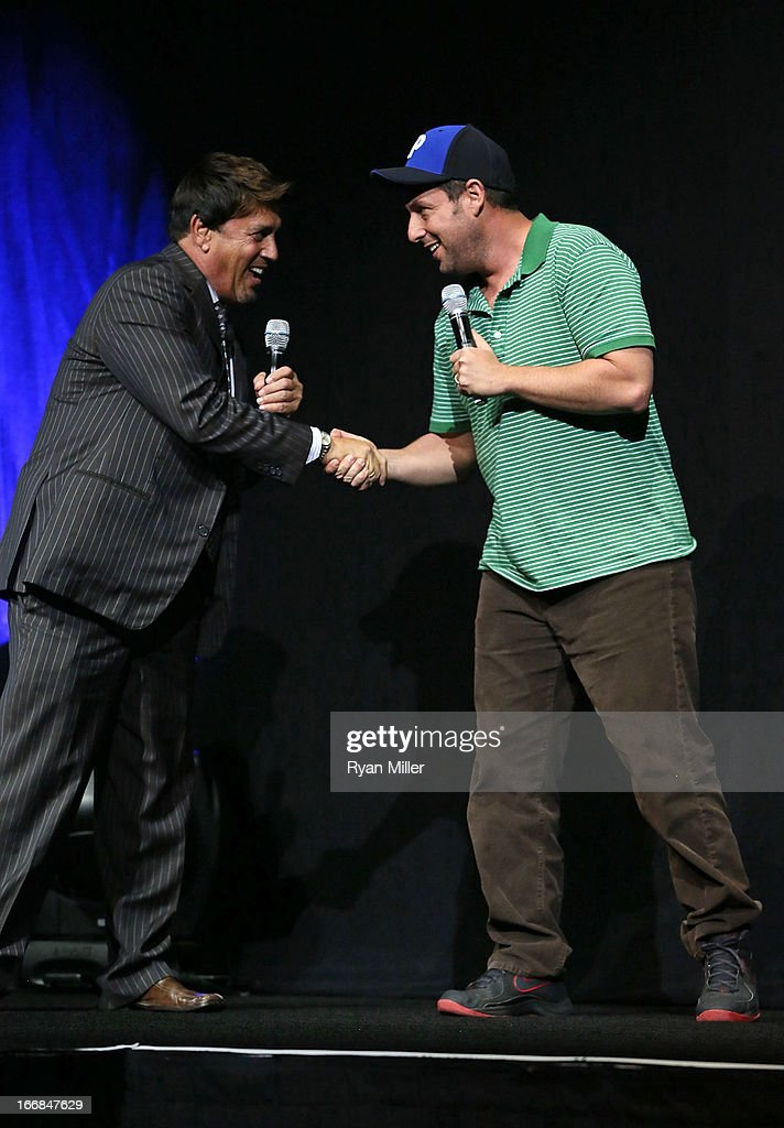 Sony Pictures' head of distribution Rory Bruer (L) speaks with actor <a gi-track='captionPersonalityLinkClicked' href=/galleries/search?phrase=Adam+Sandler&family=editorial&specificpeople=202205 ng-click='$event.stopPropagation()'>Adam Sandler</a> onstage during the Sony Pictures Entertainment Invites You to an Exclusive Product Presentation Highlighting its 2013 Films at Caesars Palace during CinemaCon, the official convention of the National Association of Theatre Owners on April 17, 2013 in Las Vegas, Nevada.