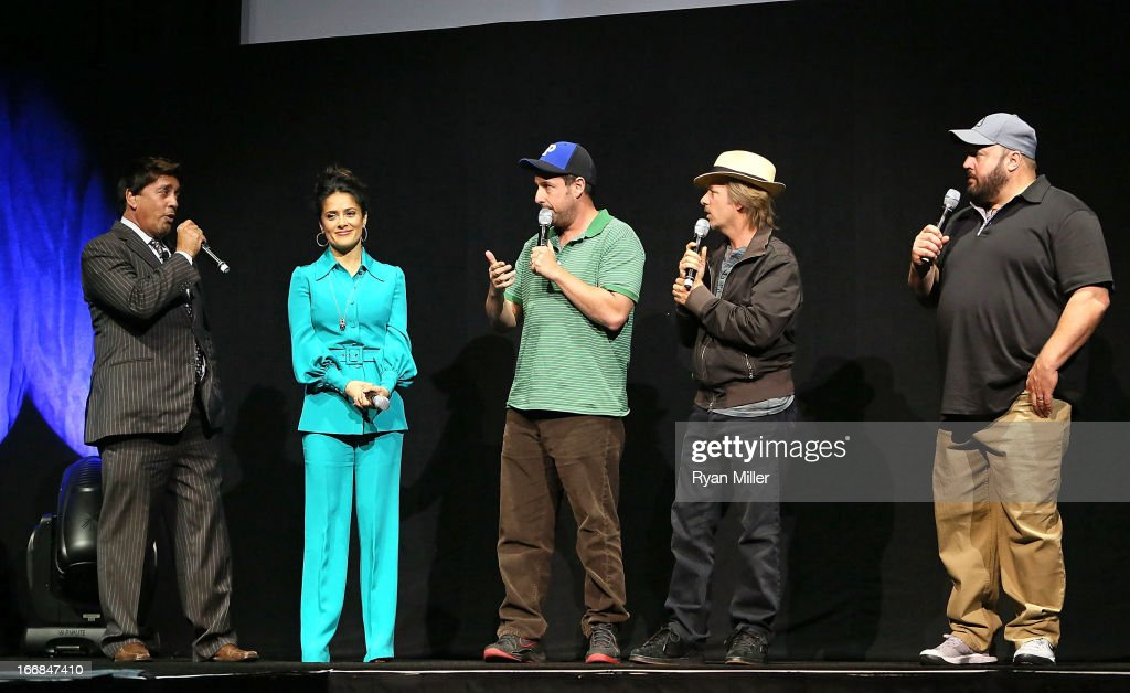 Sony Pictures' head of distribution Rory Bruer speaks with <a gi-track='captionPersonalityLinkClicked' href=/galleries/search?phrase=Salma+Hayek&family=editorial&specificpeople=201844 ng-click='$event.stopPropagation()'>Salma Hayek</a>, <a gi-track='captionPersonalityLinkClicked' href=/galleries/search?phrase=Adam+Sandler&family=editorial&specificpeople=202205 ng-click='$event.stopPropagation()'>Adam Sandler</a>, <a gi-track='captionPersonalityLinkClicked' href=/galleries/search?phrase=David+Spade&family=editorial&specificpeople=209074 ng-click='$event.stopPropagation()'>David Spade</a> and Kevin James, the cast of Grown Ups 2 onstage during the Sony Pictures Entertainment Invites You to an Exclusive Product Presentation Highlighting its 2013 Films at Caesars Palace during CinemaCon, the official convention of the National Association of Theatre Owners on April 17, 2013 in Las Vegas, Nevada.