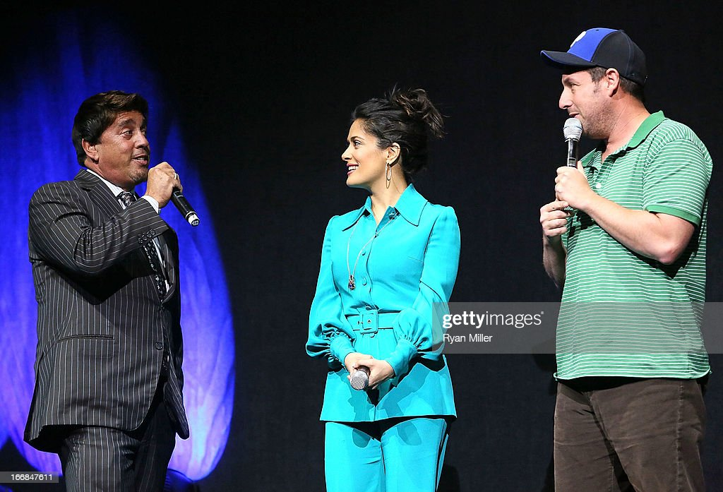 Sony Pictures' head of distribution Rory Bruer speaks with <a gi-track='captionPersonalityLinkClicked' href=/galleries/search?phrase=Salma+Hayek&family=editorial&specificpeople=201844 ng-click='$event.stopPropagation()'>Salma Hayek</a> and <a gi-track='captionPersonalityLinkClicked' href=/galleries/search?phrase=Adam+Sandler&family=editorial&specificpeople=202205 ng-click='$event.stopPropagation()'>Adam Sandler</a>, the cast of Grown Ups 2 onstage during the Sony Pictures Entertainment Invites You to an Exclusive Product Presentation Highlighting its 2013 Films at Caesars Palace during CinemaCon, the official convention of the National Association of Theatre Owners on April 17, 2013 in Las Vegas, Nevada.