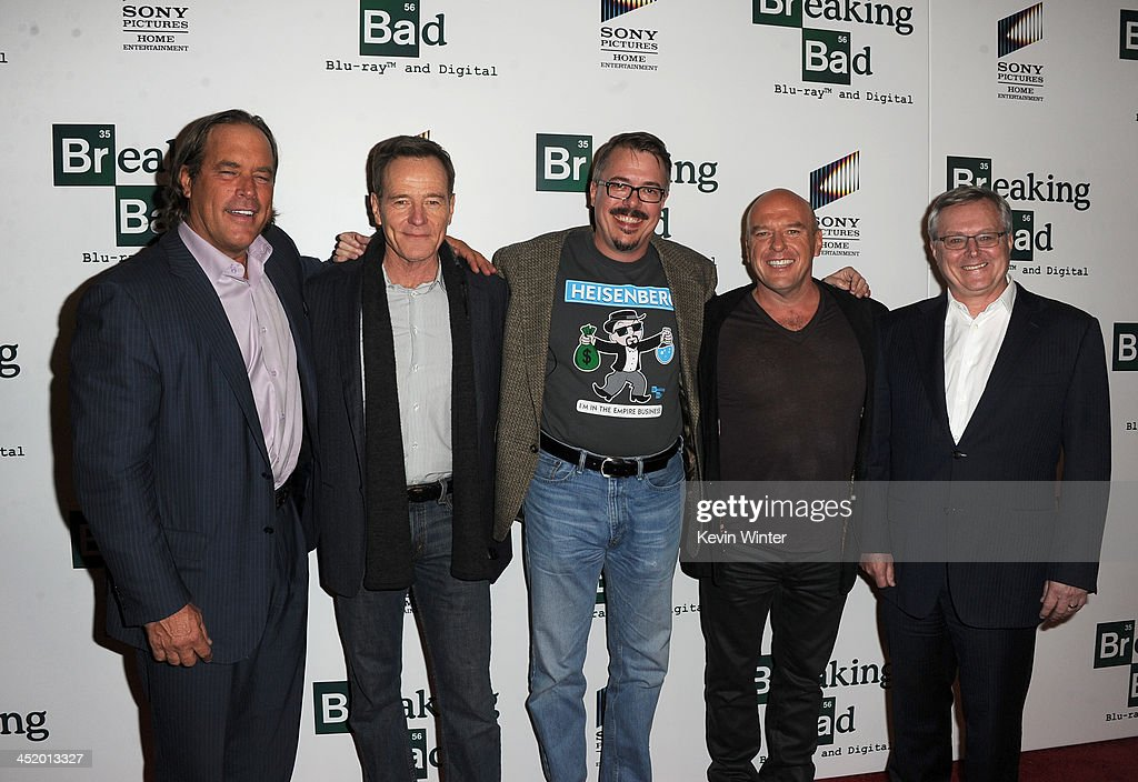 Sony Pictures Television president Steve Mosko actor Bryan Cranston creator Vince Gilligan actor Dean Norris and Sony Pictures Home Entertainment...