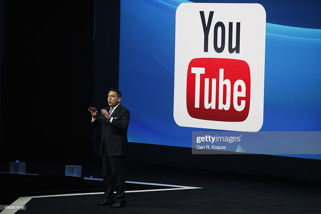 Sony President Andrew House introduces Sony's new business relationship with YouTube at their press conference at E3 June 9, 2014 in Los Angeles, California. The annual video game conference and show runs from June 10-12.