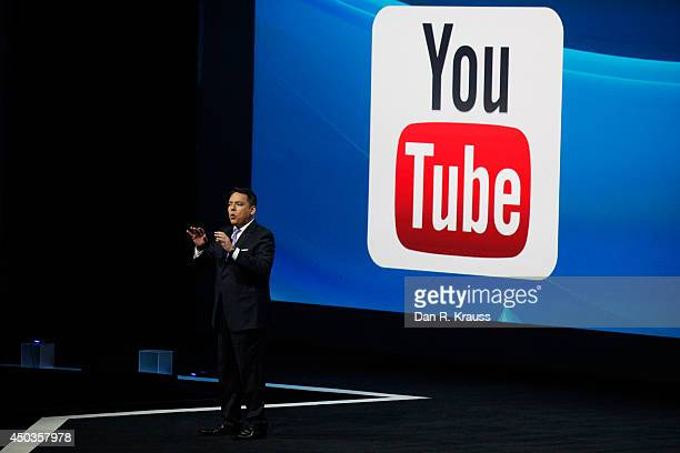 Sony President Andrew House introduces Sony's new business relationship with YouTube at their press conference at E3 June 9 2014 in Los Angeles...