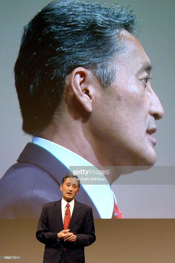 Sony President <a gi-track='captionPersonalityLinkClicked' href=/galleries/search?phrase=Kazuo+Hirai&family=editorial&specificpeople=2377874 ng-click='$event.stopPropagation()'>Kazuo Hirai</a> speaks during a press conference at their headquarters on May 22, 2013 in Tokyo, Japan. Hirai insists revitalizing its electronics business remains the primary task.