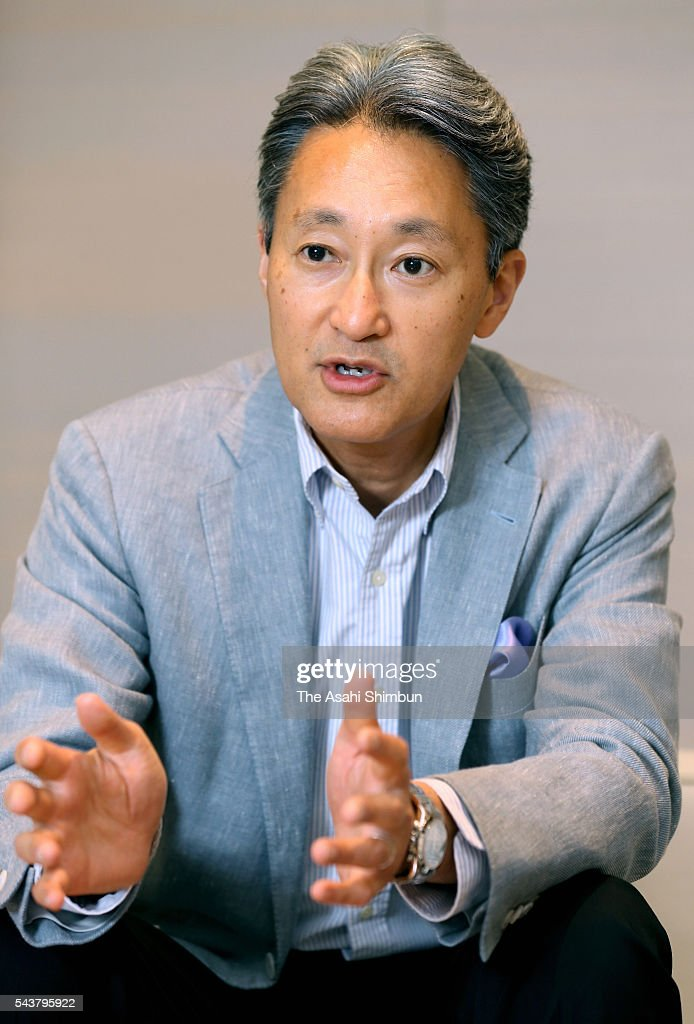 Sony President <a gi-track='captionPersonalityLinkClicked' href=/galleries/search?phrase=Kazuo+Hirai&family=editorial&specificpeople=2377874 ng-click='$event.stopPropagation()'>Kazuo Hirai</a> speaks during the Asahi Shimbun interview on June 30, 2016 in Tokyo, Japan.