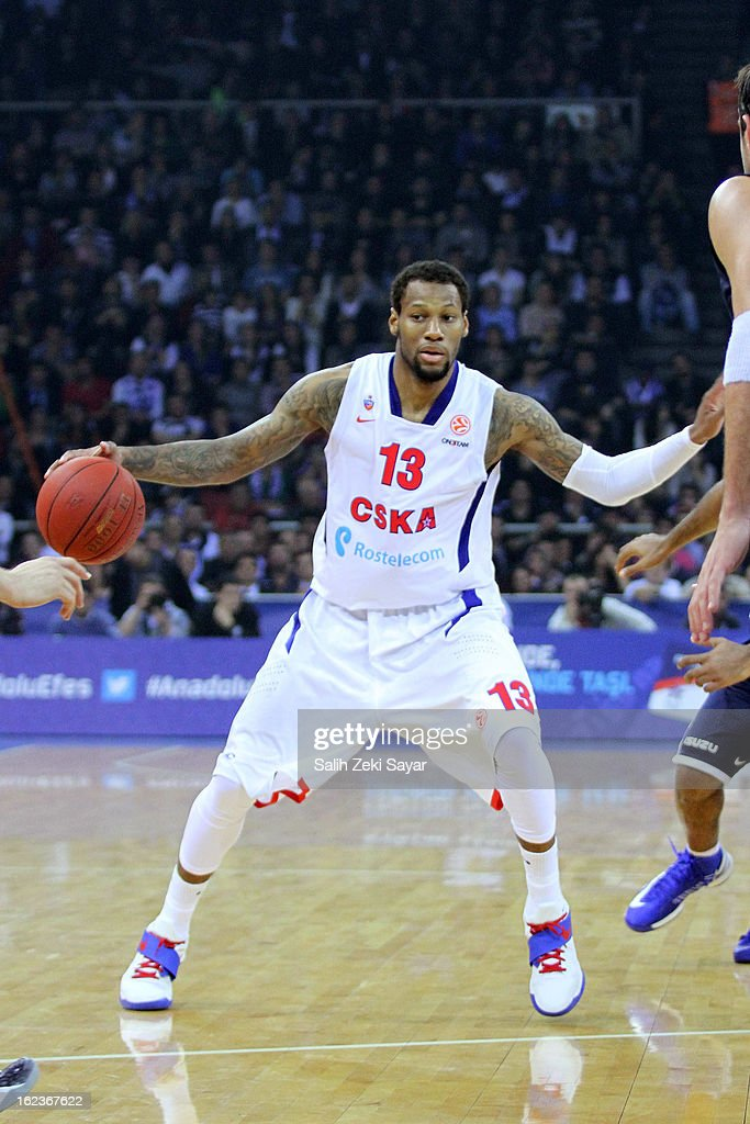Sony Weems #13 of CSKA Moscow in action during the 2012-2013 Turkish Airlines Euroleague Top 16 Date 8 between Anadolu EFES Istanbul v CSKA Moscow at Abdi Ipekci Sports Arena on February 22, 2013 in Istanbul, Turkey.