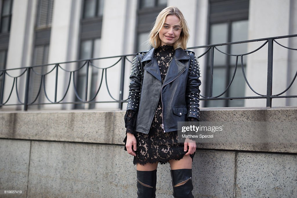 Sonya Esman is seen at Herve Leger by Max Azria wearing Lovett jacket, Cameo dress, and Schutz boots during New York Fashion Week: Women's Fall/Winter 2016 on February 13, 2016 in New York City.