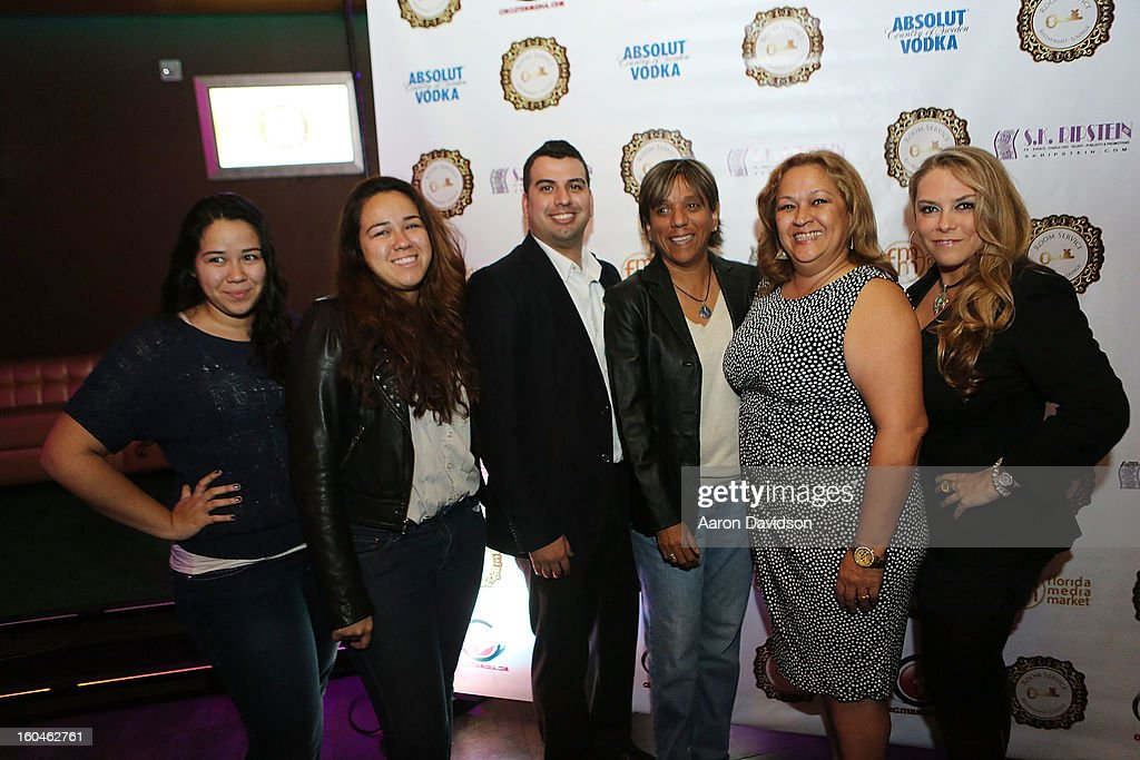 Sonya Guimet, Sandra Guimet, William Balcazar, Guest, Maritza Guimet and Stephanie Kon Ripstein attend The Florida Media Market 2013 Event at Room Service on January 31, 2013 in Miami Beach, Florida.