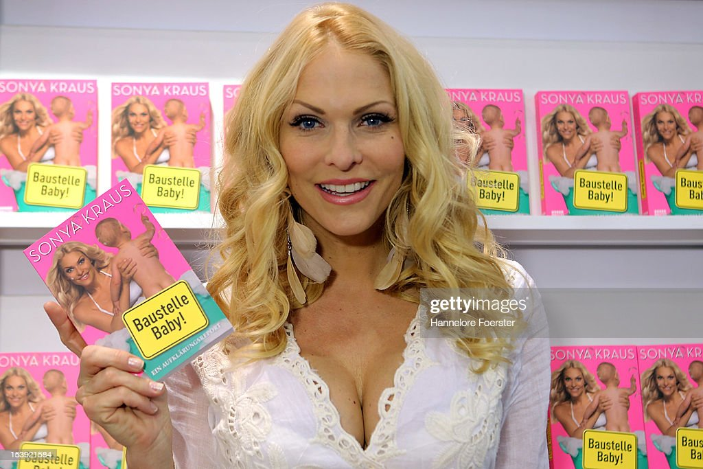 Sonya Kraus shows her book ' Baustelle Baby' at the Frankfurt Book Fair on October 11, 2012 in Frankfurt, Germany. The Frankfurt Book Fair is the largest in the world and will run from October 10-14, 2012