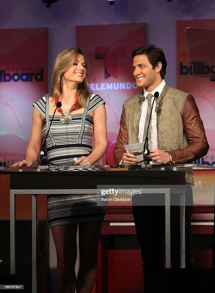 Sonya Smith and Gabriel Coronel attends Telemundo and Premios Billboard 2013 Press Conference at Gibson Miami Showroom on February 5, 2013 in Miami, Florida.