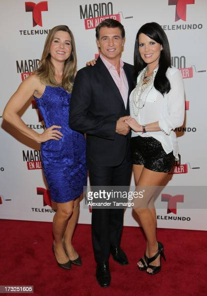 Sonya Smith Juan Soler and Maritza Rodriguez attend Telemundo's 'Marido en Alquiler' Presentation at Telemundo Studios on July 10 2013 in Miami...