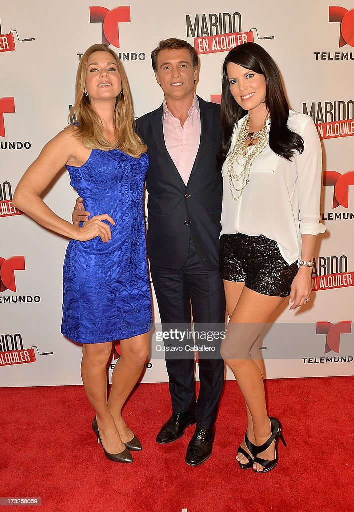 Sonya Smith, Juan Soler and Maritza Rodriguez attends Telemundos 'Marido en Alquiler' Presentation on July 10, 2013 in Miami, Florida.