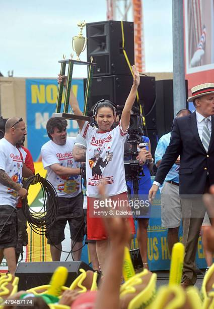 Sonya Thomas attends 2015 Nathan's Famous 4th Of July International Hot Dog Eating Contest at Coney Island on July 4 2015 in New York City