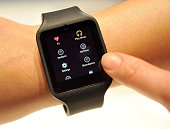 Sony's Smart Watch 3 is displayed at the 2015 International CES at the Las Vegas Convention Center on January 6 2015 in Las Vegas Nevada CES the...