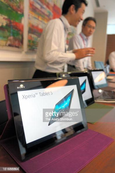 Sony's 'Xperia Tablet S' is displayed on September 4 2012 in Tokyo Japan The first tablet to come under its Xperia subbrand with common user...